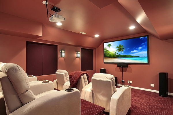 Completed Home Theater and Cinema Room with Lounge Chairs.