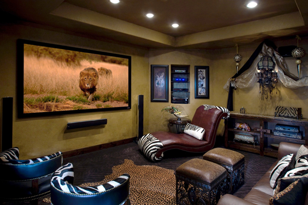Completed Safari theme Home Theater room.